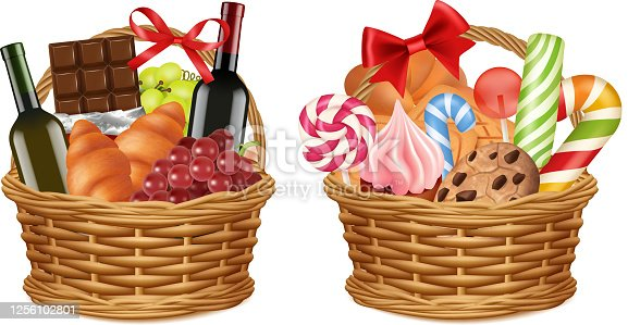istock Christmas gift baskets. Realistic food packaging, grocery store festive promo presents vector illustration 1256102801