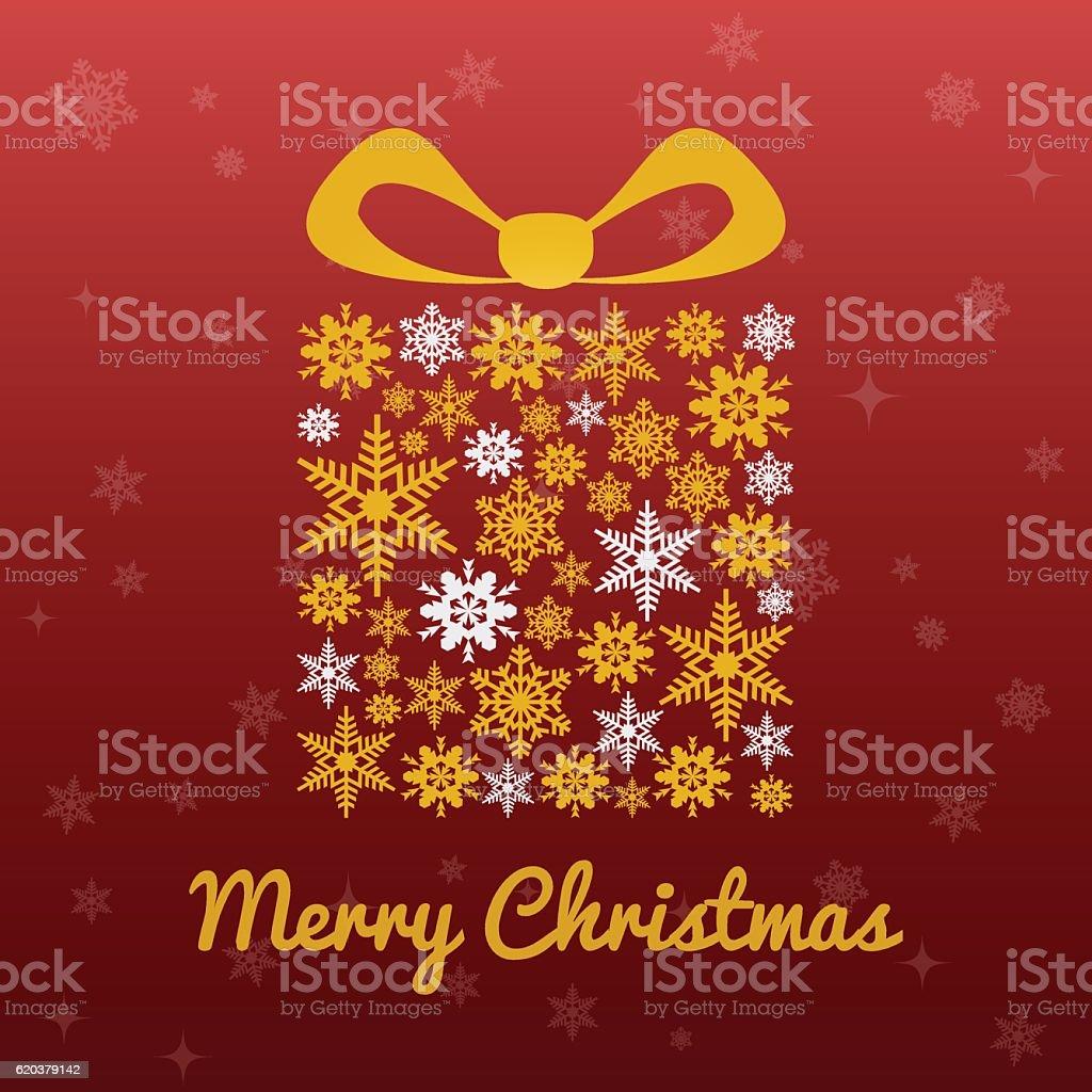Christmas gift box golden white on red background with stars christmas gift box golden white on red background with stars - stockowe grafiki wektorowe i więcej obrazów boże narodzenie royalty-free