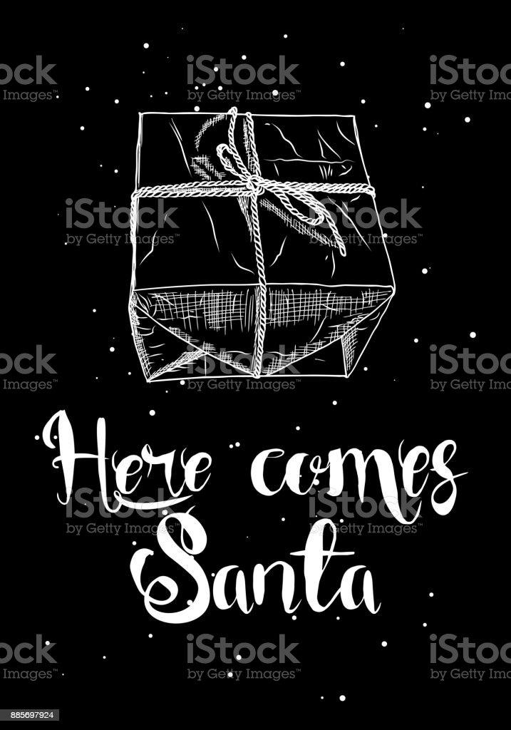 Weihnachtsgeschenkbox Neue Jahr Handgezeichneten Grußkarte Mit ...