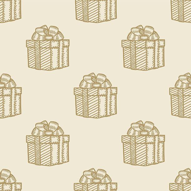 Weihnachts-Geschenk-box nahtlose Hintergrund Muster – Vektorgrafik
