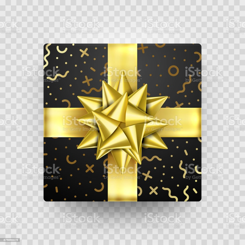 Christmas Gift Box Present Golden Ribbon Bow Gold Foil Wrapping Vector Pattern Royalty Free