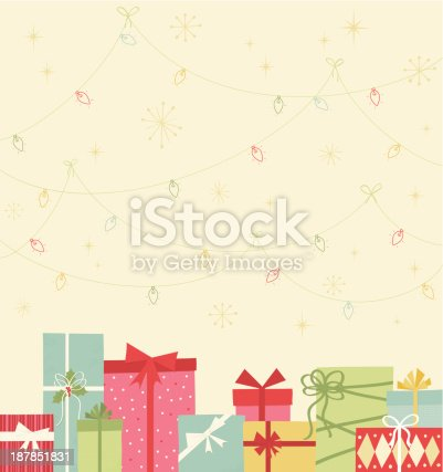 An assortment of colorful retro styled Christmas gift boxes with lights strung above.
