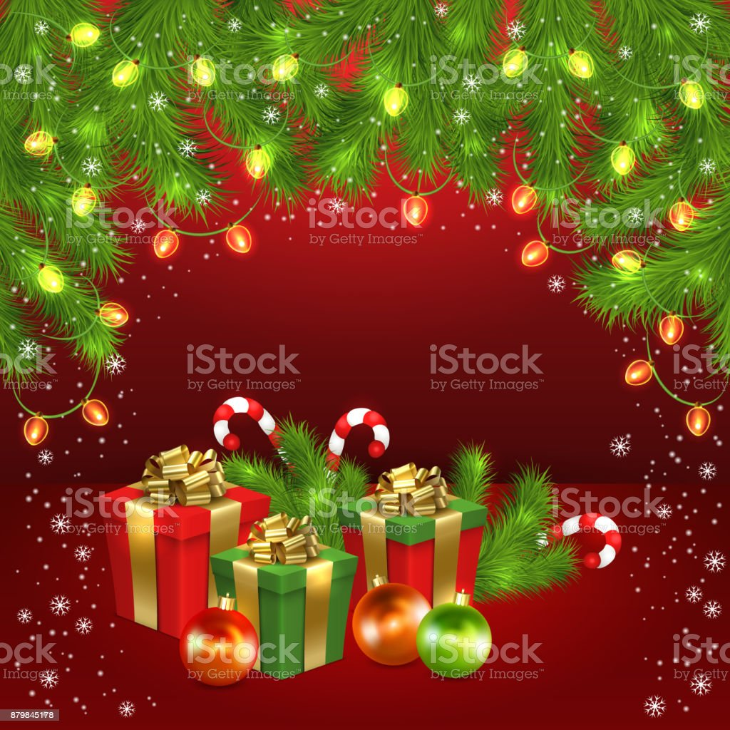 Christmas Gift Boxes Ball Candy Garland Firtree Stock Vector Art