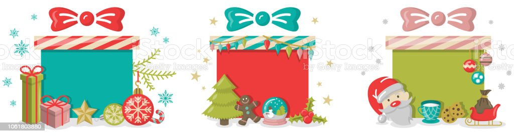 Christmas Gift Boxes Button Template With Christmas Symbols Stock