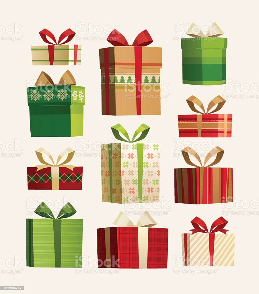 Christmas gift boxes set isolated on white. vector art illustration