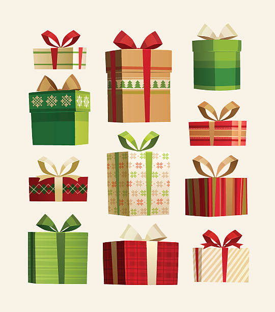 stockillustraties, clipart, cartoons en iconen met christmas gift boxes set isolated on white. - christmas present