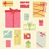 An assortment of colorful retro styled Christmas gift boxes.
