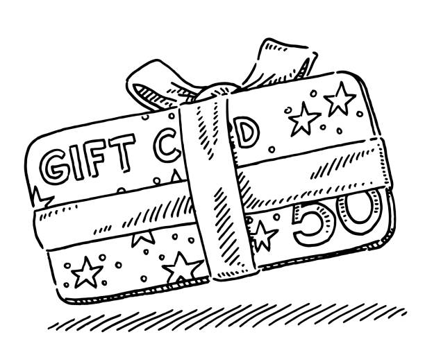 Christmas Gift Card Drawing Hand-drawn vector drawing of a Christmas Gift Card. Black-and-White sketch on a transparent background (.eps-file). Included files are EPS (v10) and Hi-Res JPG. celebration stock illustrations