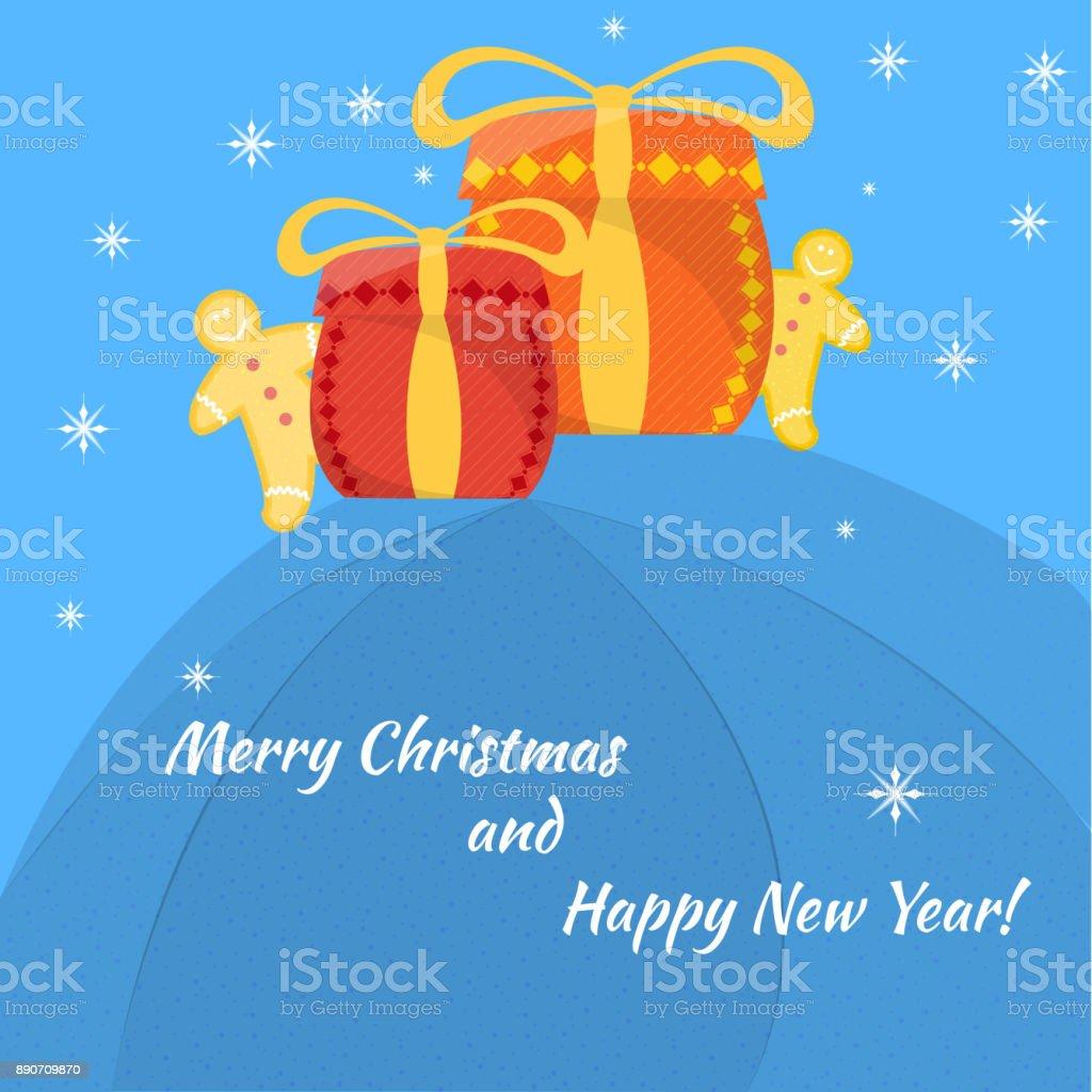Christmas Gift Card vector art illustration