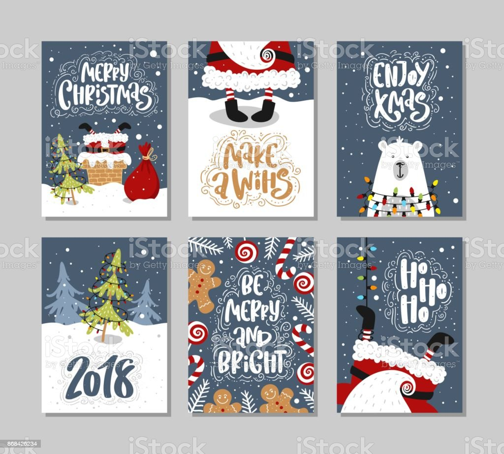 Christmas gift cards or tags with lettering. Hand drawn design elements. vector art illustration