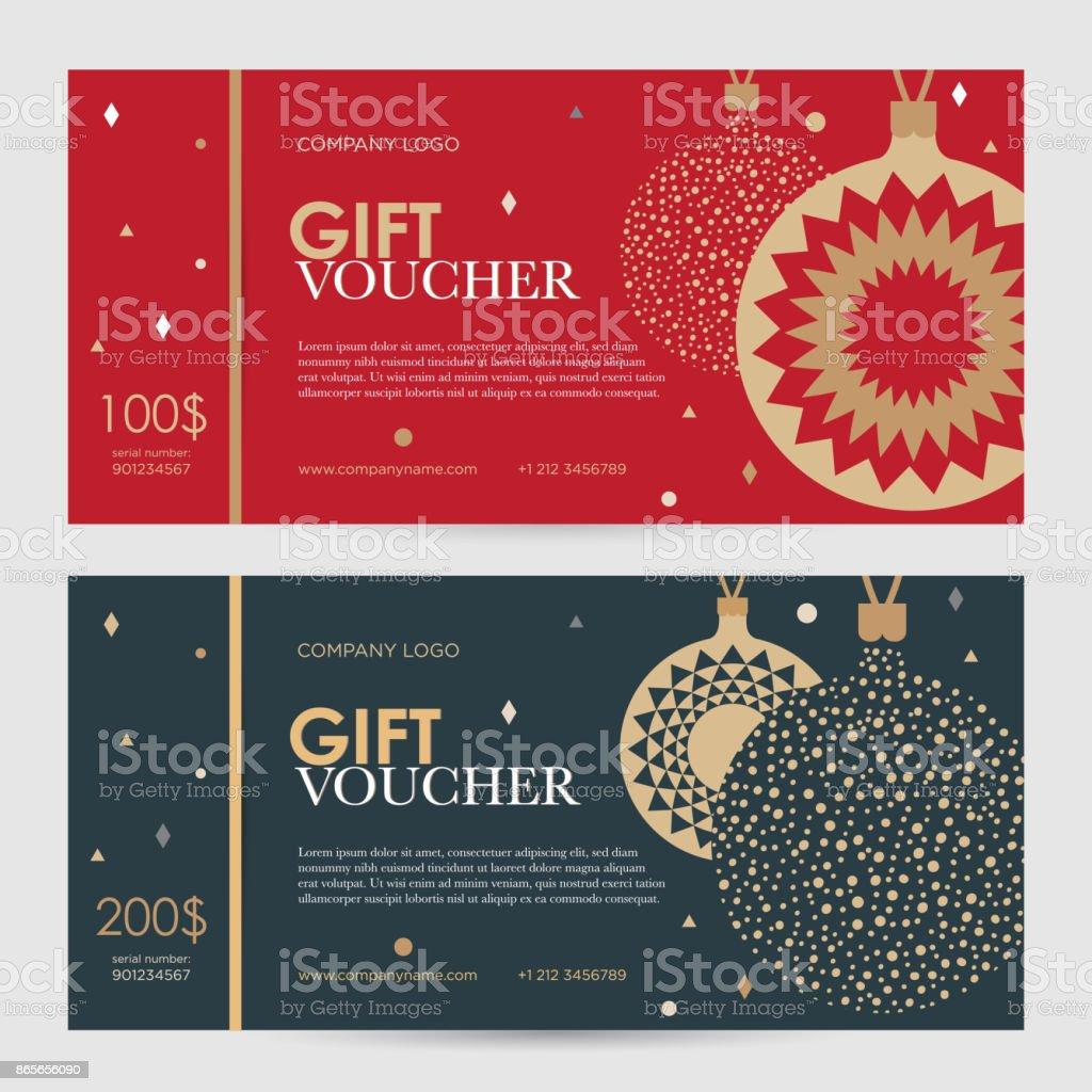 Christmas gift certificate. New Year gift voucher. vector art illustration