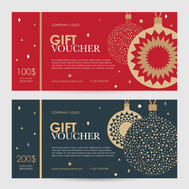 christmas gift certificate. new year gift voucher. - coupon stock illustrations, clip art, cartoons, & icons