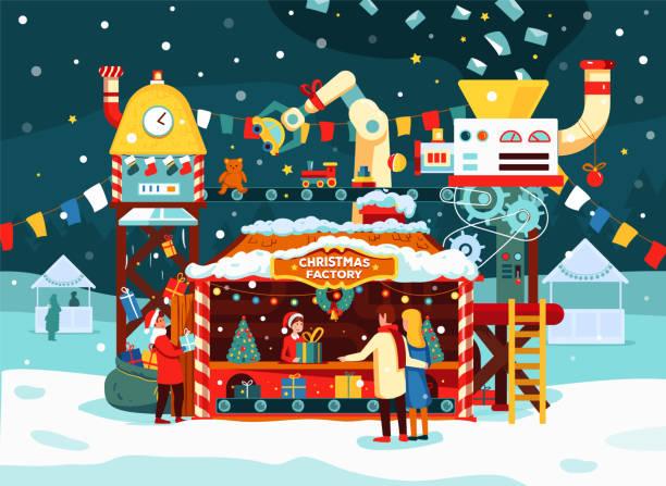 illustrazioni stock, clip art, cartoni animati e icone di tendenza di fabbrica di regali di natale con giocattoli, regali sul trasportatore. le lettere a babbo natale si trasformano in regali. - banchi di pesci