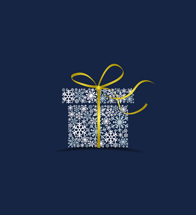 Vector illustration of a Christmas gift made from snow on a blue background. Merry Christmas card with snowflakes