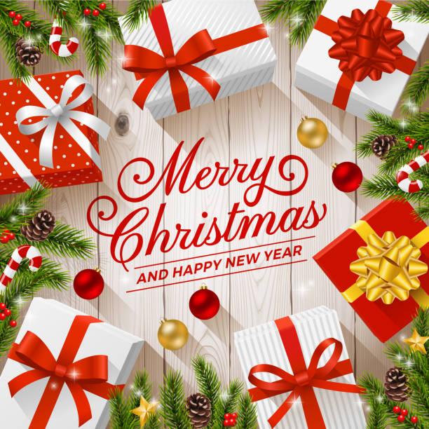 illustrazioni stock, clip art, cartoni animati e icone di tendenza di regali di natale su sfondi in legno - christmas table