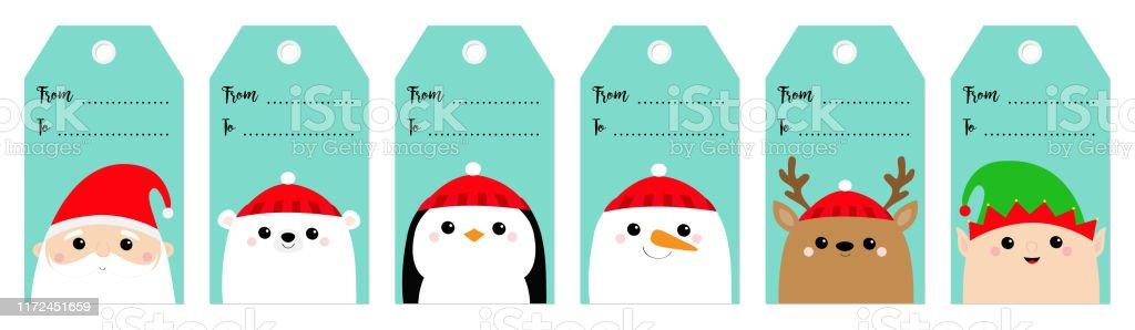 Ensemble Détiquette De Cadeau De Noel Santa Claus Elf White