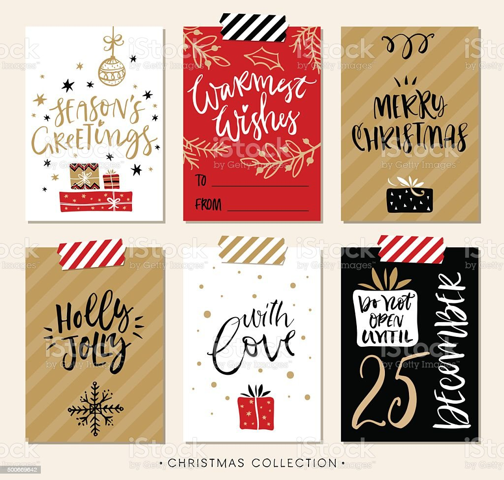 Christmas gift tags and cards with calligraphy stock for Modern christmas card ideas