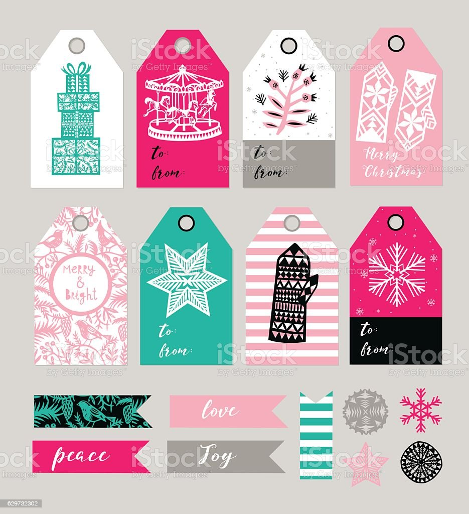 christmas gift tags and labels set vector illustration お祝いの