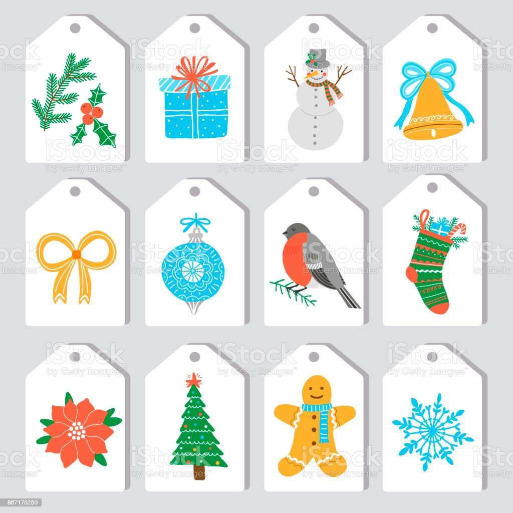Christmas Gift Tags Template.Christmas Gift Tags And Labels Vector Template Stock