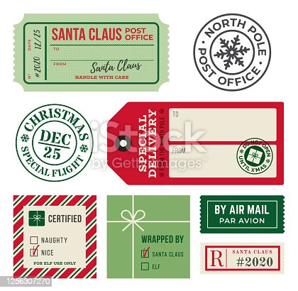 Christmas Gift Tags and Mailing Labels Rubber Stamps.