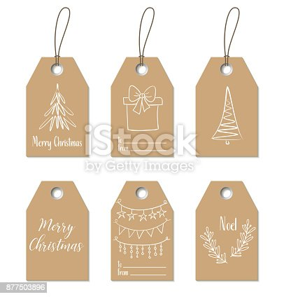 Christmas gift tags. Vector hand drawn craft labels, bages