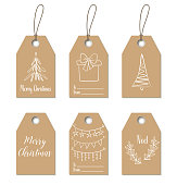 Christmas gift tags. Hand drawn craft labels