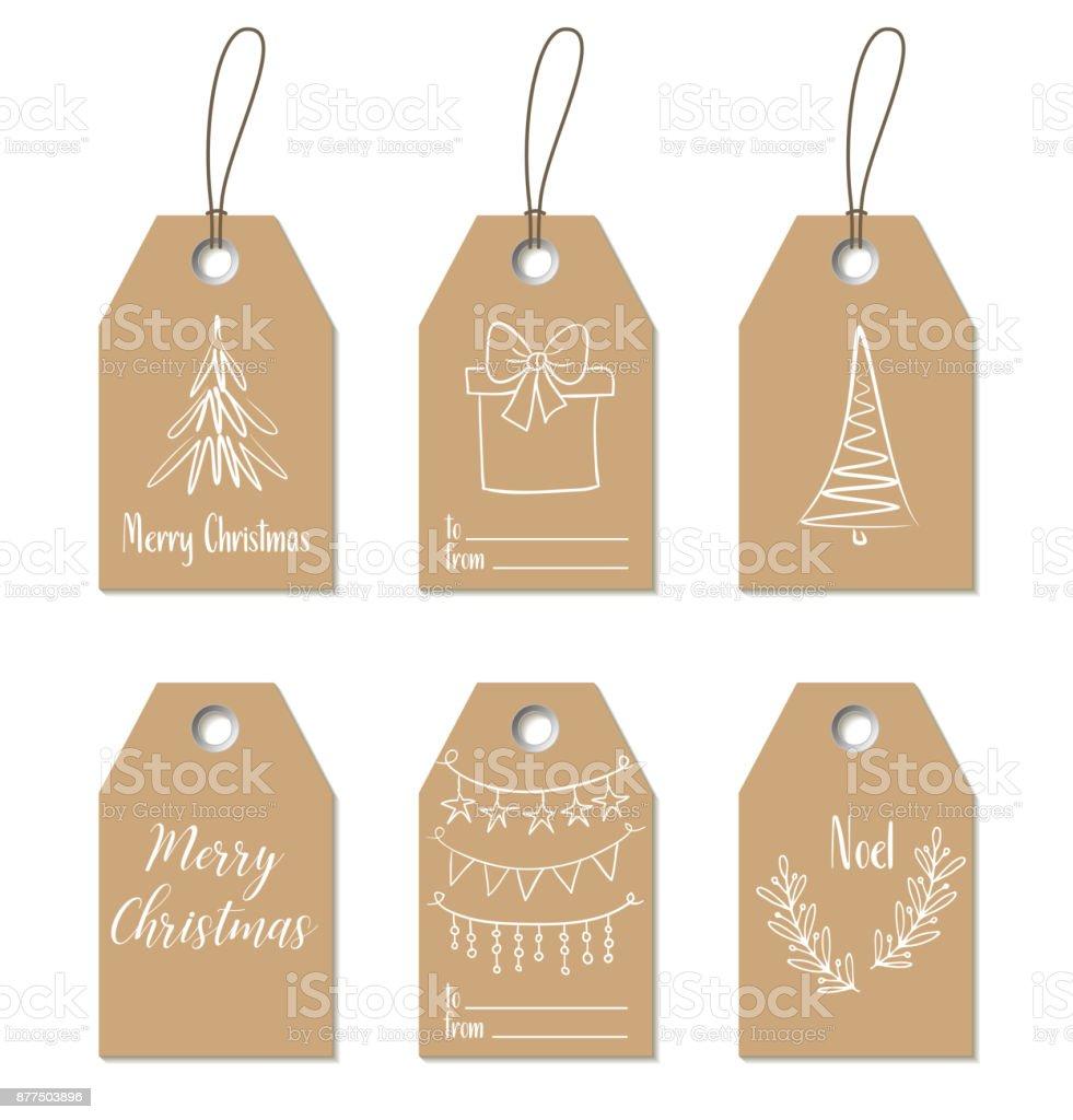 Weihnachtsgeschenk-tags. Handgezeichnete Handwerk Etiketten – Vektorgrafik