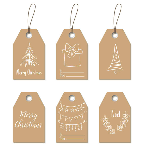 Christmas gift tags. Hand drawn craft labels – artystyczna grafika wektorowa