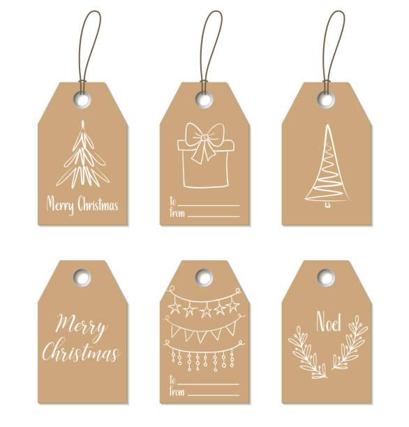 weihnachtsgeschenk-tags. handgezeichnete handwerk etiketten - ferien und feiertage stock-grafiken, -clipart, -cartoons und -symbole