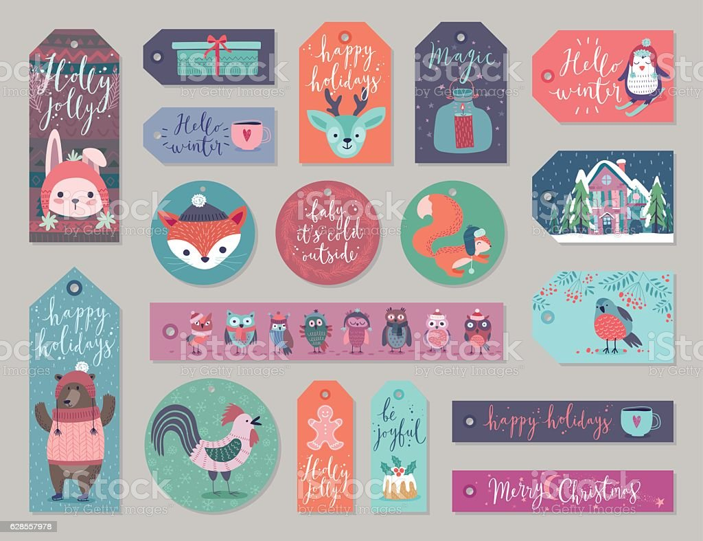 Christmas gift tags set, hand drawn style. vector art illustration