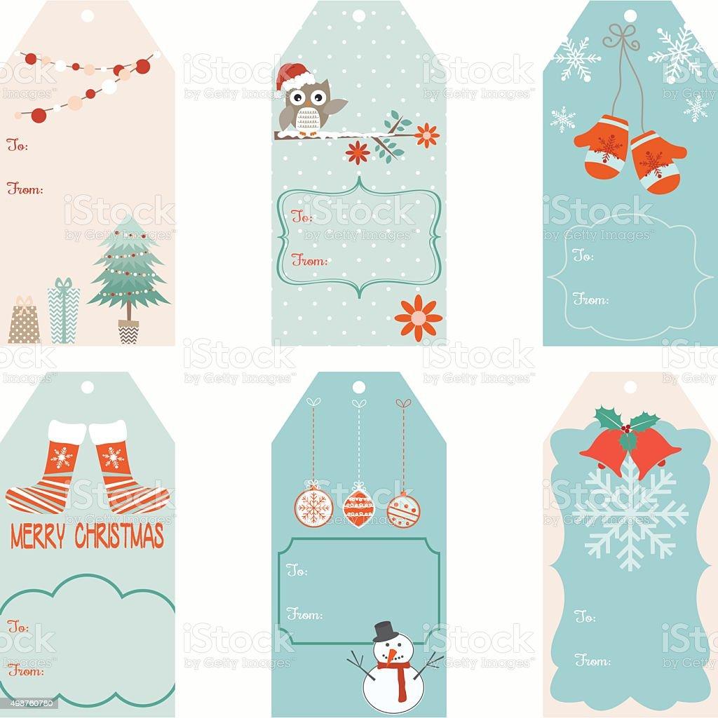 Christmas Gift Tags set vector art illustration