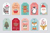 Christmas gift tags set with cute characters - fox, raccoon, deer, penguin, snowmen, Santa Claus. Vector illustration, hand drawn style.