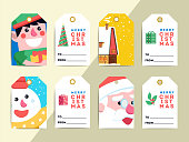 Christmas gift tags template set. Vector printable xmas box or l