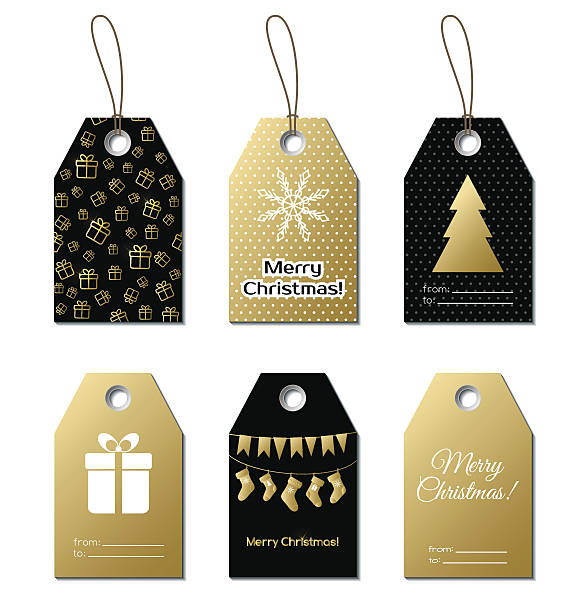 Christmas gift tags. Vector gold labels vector art illustration