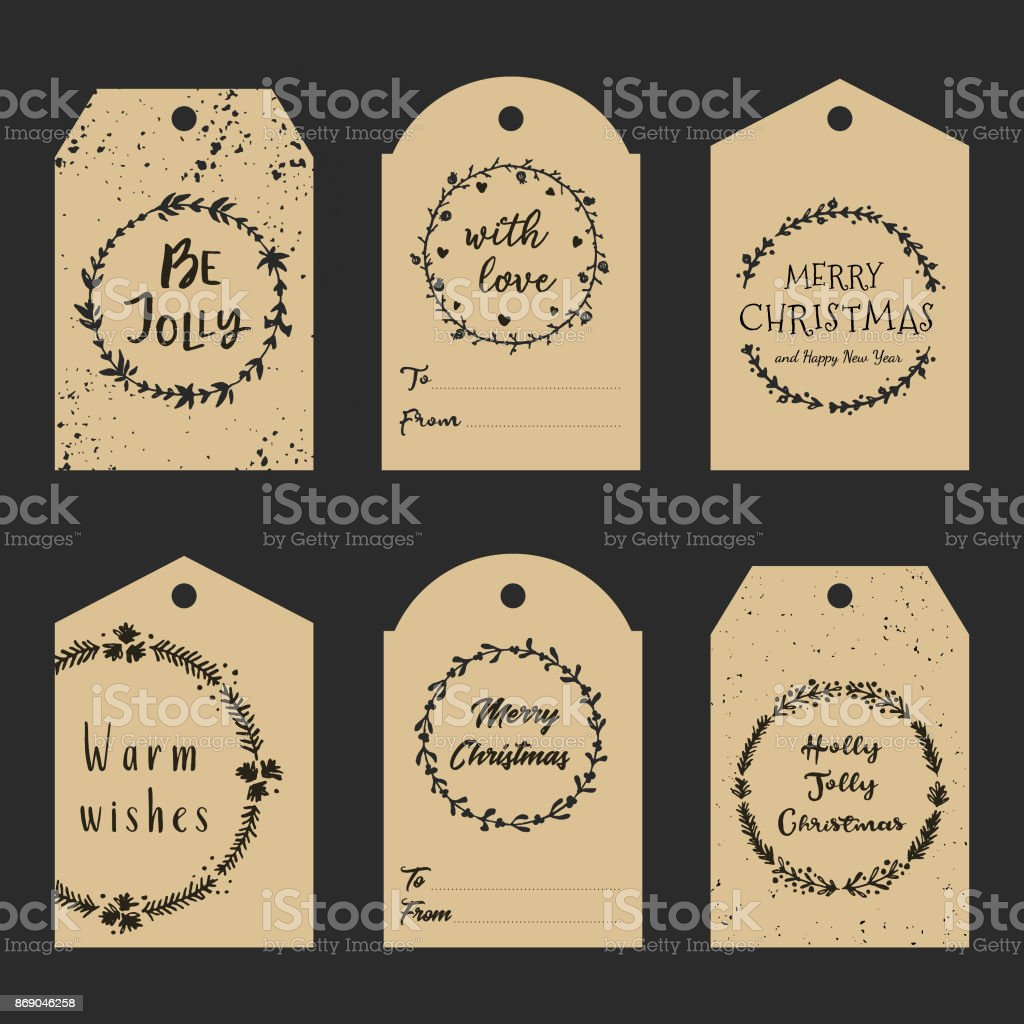 christmas gift tags with hand drawn wreath and lettering decorative garlands with calligraphy vector - Decorative Christmas Gift Tags