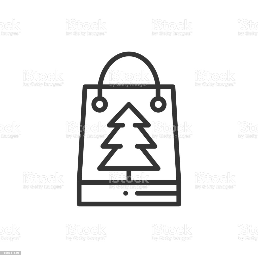 Christmas Gift Thin Line Icon Present Shopping Sale New Year ...