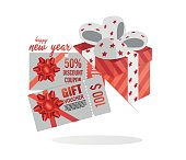 Christmas gift voucher card template vector illustration. discount coupon code promotion. Happy holiday and new year concept.