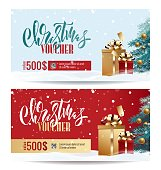Christmas Gift Voucher Coupon discount. Gift certificate template for Merry Christmas. Shopping concept.  Vector illustration