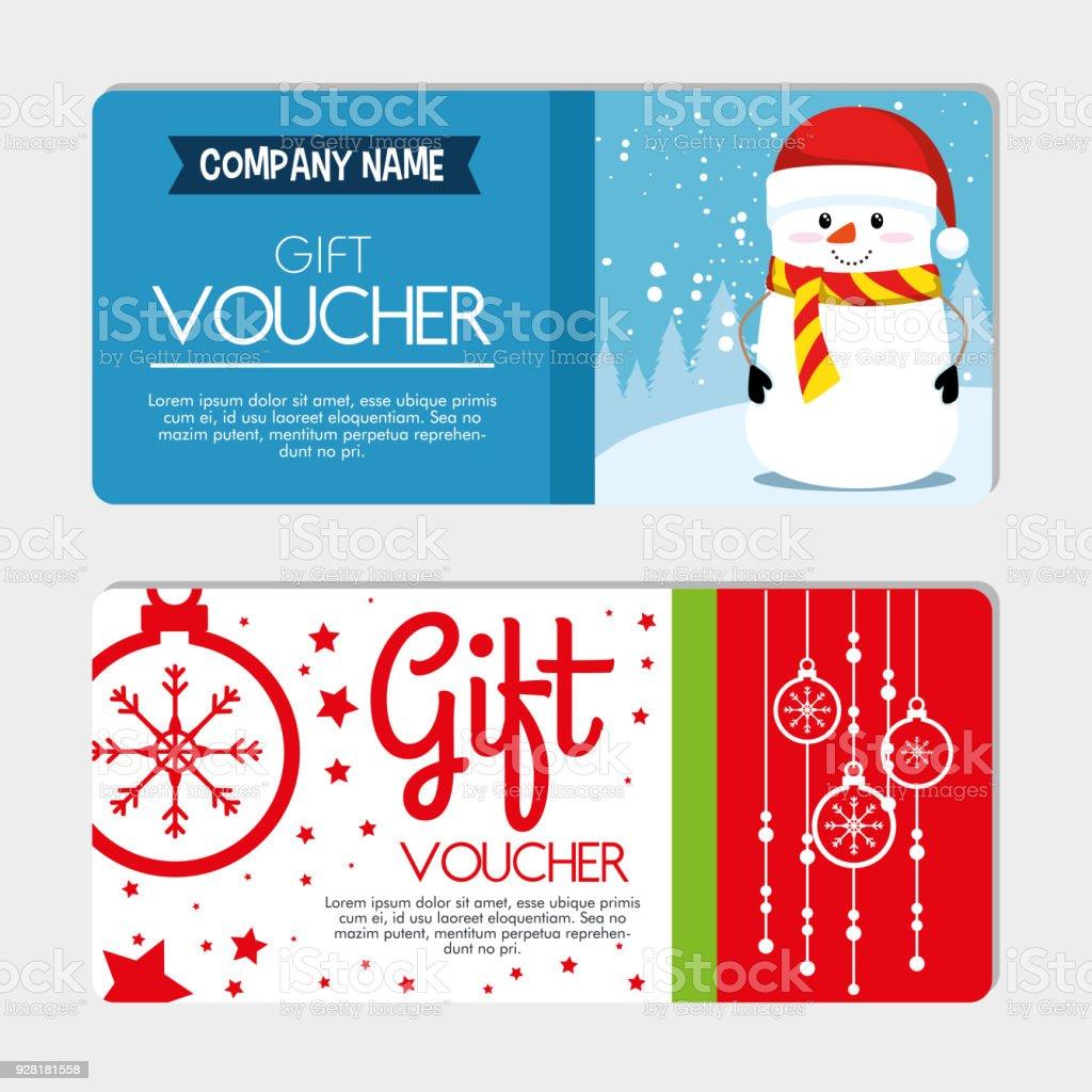 tarjeta de regalo de vales de regalo de Navidad - ilustración de arte vectorial
