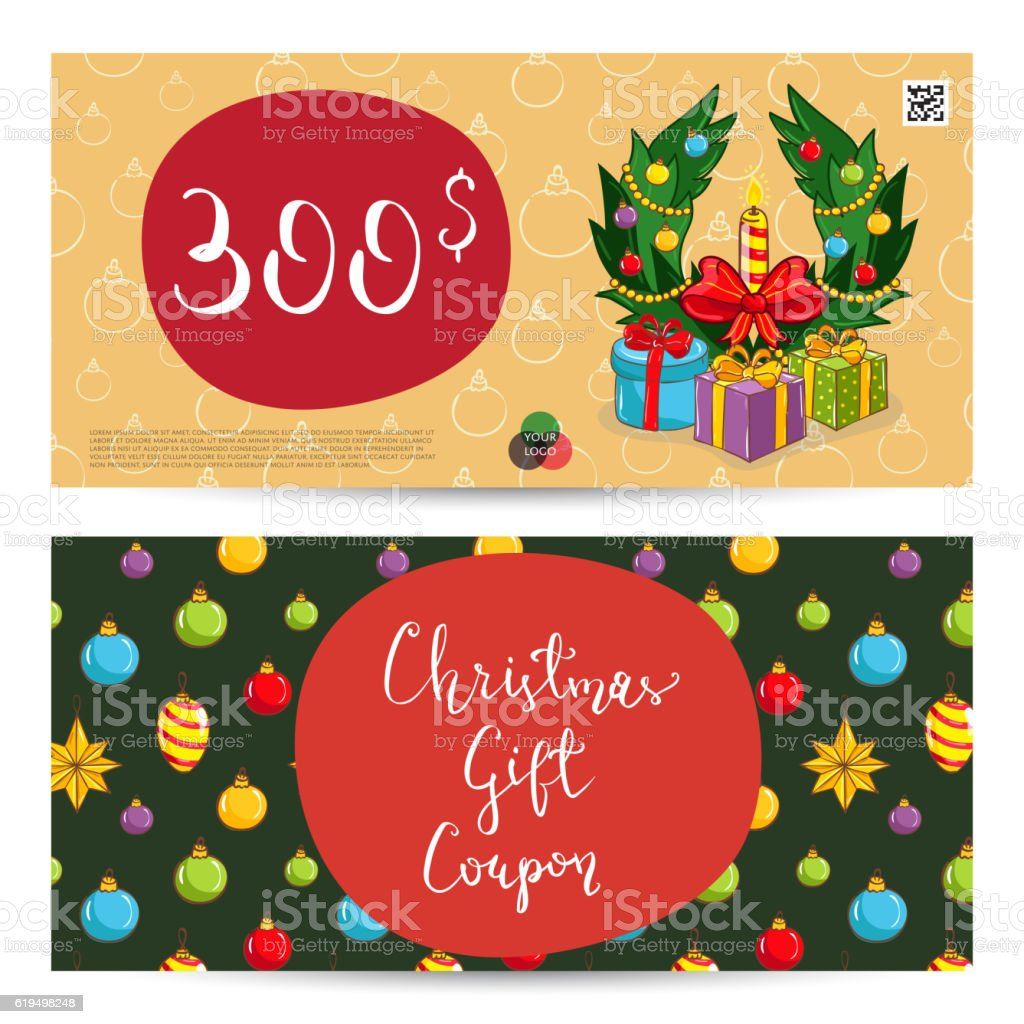 Christmas Gift Voucher With Prepaid Sum Template Royalty Free Stock Vector  Art  Christmas Gift Vouchers Templates