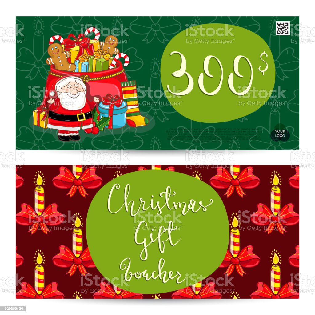 christmas gift voucher with prepaid sum template qrコードの