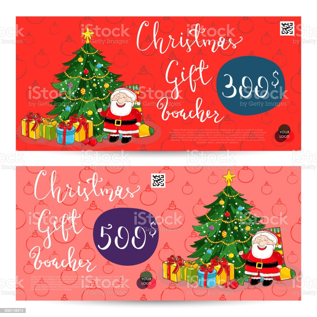 Christmas Gift Voucher With Prepaid Sum Template Stock Vector Art