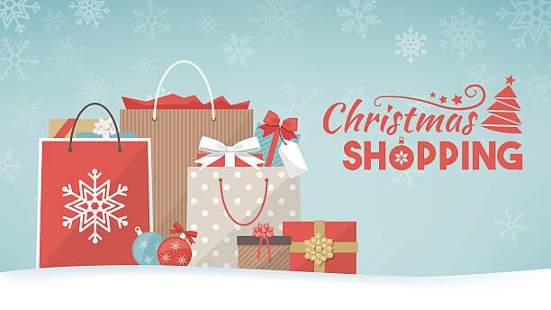 prezenty świąteczne i torby na zakupy - handel detaliczny stock illustrations