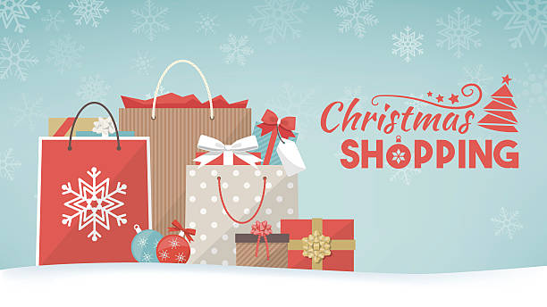 illustrazioni stock, clip art, cartoni animati e icone di tendenza di christmas gifts and shopping bags - acquisti