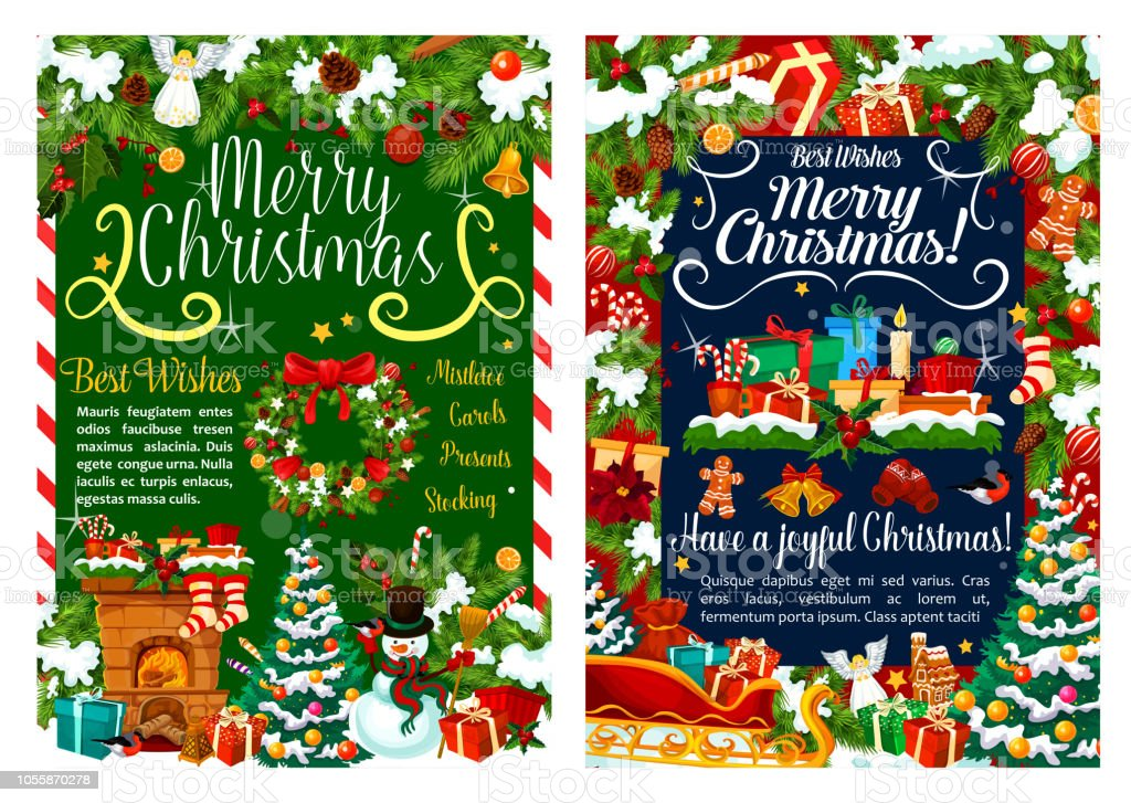 Download Christmas Cards.Christmas Gifts Decoration Vector Greeting Cards Stock