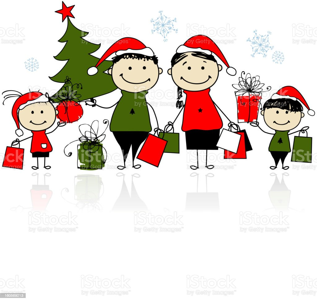 Christmas Gifts Family With Shopping Bags Stock Vector Art & More ...