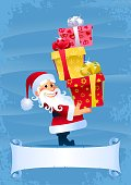 Santa Claus holding gift boxes in a pile. Christmas card with a blank scroll for title