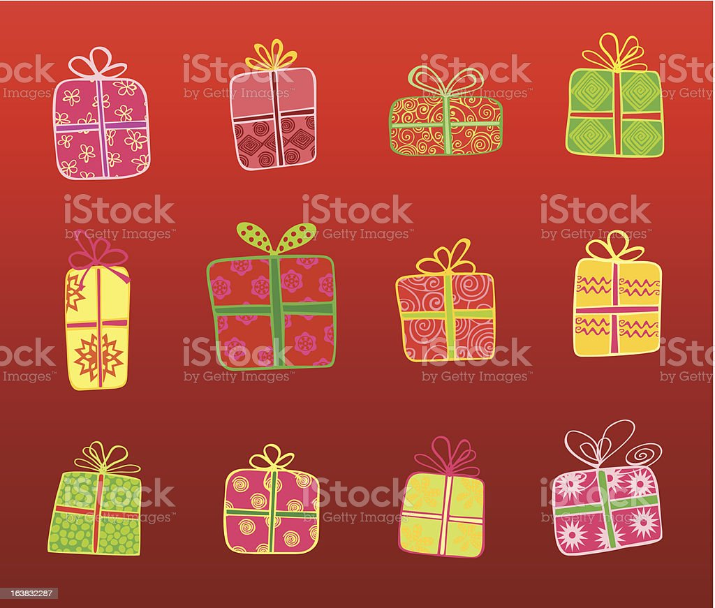 Christmas gifts in red royalty-free stock vector art