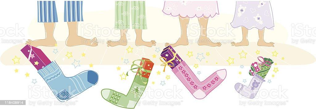 Christmas gifts in socks vector art illustration