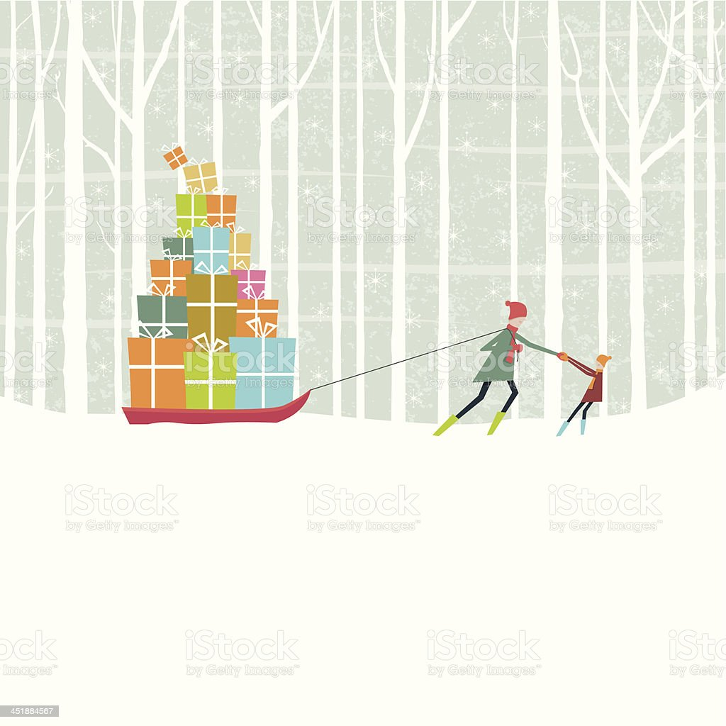 Christmas gifts pulled through snowy woods on sledge vector art illustration